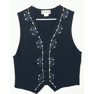 Joan Leslie Sleeveless Beaded Navy Vest Sz…